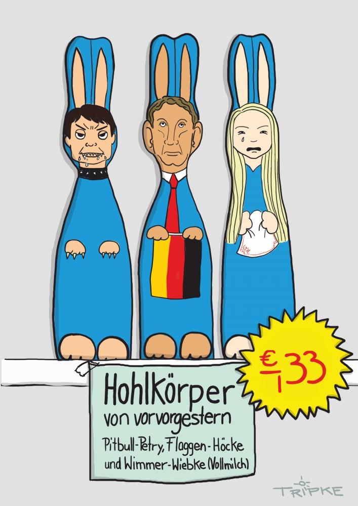 Cartoon ranzige AfD Häschen